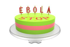 Ebola cake. Cake with stop ebola inscription, isolated on white, 3d render Stock Image