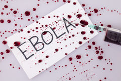 Ebola concept with a blood filled syringe. Ebola concept with blood filled syringe Royalty Free Stock Images
