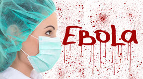 Ebola concept - female doctor in surgeon mask isolated on white Royalty Free Stock Photos