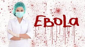Ebola concept - young female doctor or nurse in surgeon mask iso Stock Photos