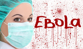 Ebola concept - young female doctor in surgeon mask isolated on Royalty Free Stock Photography