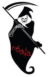 Ebola depicted as death with scythe. Vector Royalty Free Stock Images