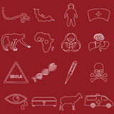 Ebola disease outline white icons set Stock Image