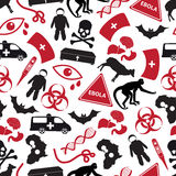 Ebola disease red and black icons pattern Royalty Free Stock Photography