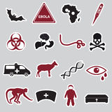Ebola disease red and black stickers set Royalty Free Stock Photography