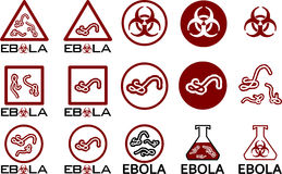 Ebola icons symbols and text Stock Images