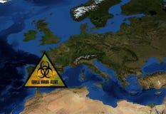 Ebola ostrzeżenie w Hiszpania Obrazy Royalty Free