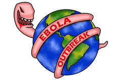 Ebola Outbreak. An illustration of a monster wrapping its body around the earth. A conceptual illustration of the ebola virus infecting many people around the Royalty Free Stock Images