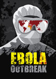 EBOLA Outbreak. Showing the world map where the virus began to spread Royalty Free Stock Photo