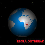 Ebola outbreak. Ebola Virus outbreak. Western Africa map close up with biohazard sign Stock Photo