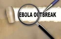 Ebola outbreak. Word ebola outbreak and magnifying glass with pensil made in 2d software Royalty Free Stock Photography