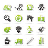 Ebola pandemic icons Royalty Free Stock Images