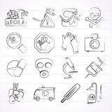 Ebola pandemic icons Stock Image