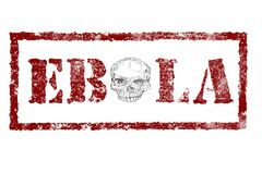 EBOLA red stamp text on white. Background, skull instead of the letter o in the middle Stock Photos