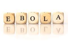 Ebola stavade ordet, tärningbokstäver med reflexion Royaltyfri Fotografi