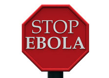Ebola Stop sign. Stop Ebola white words on a red road sign Royalty Free Stock Photo