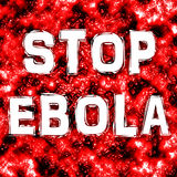 Ebola. Stop Ebola text on blood vessel background Stock Images