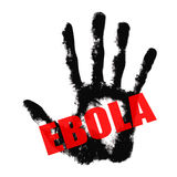 Ebola text on hand print Royalty Free Stock Photography