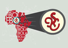 Ebola Virus in Africa Magnified Bigger. Illustration concept of Ebola originating from Africa vector and raster stock illustration
