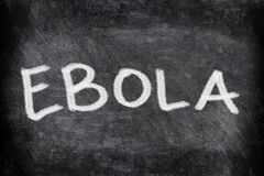 Ebola virus disease text on Blackboard stock photography