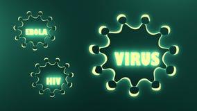Ebola, virus en hiv woorden Royalty-vrije Stock Afbeelding