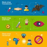 Ebola virus flat banners Royalty Free Stock Images