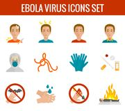 Ebola virus icons flat Royalty Free Stock Images