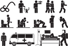 Ebola virus. Illustration - Ebola Virus Disease icon set Stock Photography