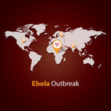 Ebola Virus outbreak . Minimalistic template design . outbreaks concept  illustration. Ebola Virus outbreak on a world map . Minimalistic template design Stock Images