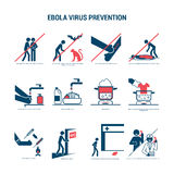 Ebola virus prevention. With simple icons set and stick figures, text and copyspace, two colors stock illustration