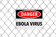 Ebola Virus Sign with Wired Fence. On a white background Royalty Free Stock Photography