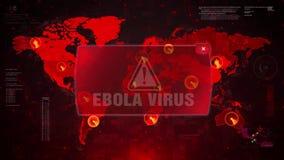 Ebola wirusa ostrzeżenia ostrzeżenia atak na Parawanowym Światowej mapy pętli ruchu ilustracji