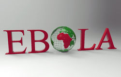 Ebola word containing the world globe. 3D render of the word EBOLA. The O letter is replaced with a green world globe highlighting Africa in red Stock Photography