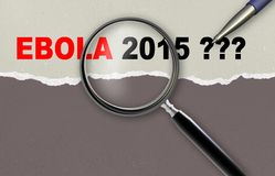 Ebola 2015. Word  ebola 2015 and magnifying glass with pensil made in 2d software Royalty Free Stock Photo