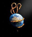 Ebolauitbarsting die de aarde overweldigen vector illustratie