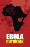 Ebolauitbarsting en de kaart van Afrika vector illustratie
