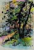 Ebony abstraction black. Drawing style creativity leaves yard street Royalty Free Stock Photo
