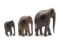 Ebony elephants isolated on white background Royalty Free Stock Photo