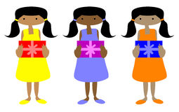 Ebony girls with Gifts Royalty Free Stock Photography