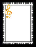 Ebony and Ivory Piano Poster, Gold Clef. Grand piano keys border a golden treble clef. Copy space for music announcements, fliers, concerts, performances Stock Images