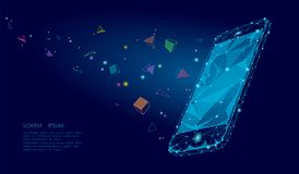 EBook κινητή smartphone τρισδιάστατη επίδραση μυαλού φαντασίας εικονικής πραγματικότητας οπτική Χαμηλές πολυ polygonal γεωμετρικέ Στοκ Εικόνες
