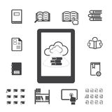 EBook με τα εικονίδια υπολογισμού σύννεφων καθορισμένα Στοκ Φωτογραφίες