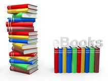 EBook. Books with the word ebook over white background Stock Photos