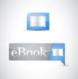 Ebook象按钮蓝色下载 免版税库存图片