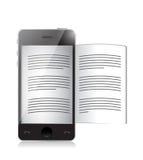 Ebook读者。智能手机例证设计 免版税库存照片