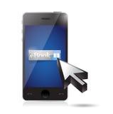 在智能手机的Ebook。例证设计 免版税库存图片
