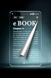 有ebook的透明智能手机在蓝色背景 免版税库存照片