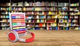 EBook-Audio, das Sprachen in Bibliothek bacground 3d lernt, übertragen S Lizenzfreie Stockbilder