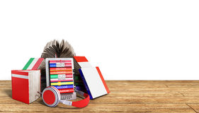 EBook-Audio, das Sprachen lernen und Bücher auf Holz 3d übertragen Succ Stockfotos