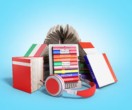 EBook-Audio, das Sprachen lernen und Bücher 3d übertragen auf blauem Absolventen Stockbilder